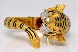 18K & Black Enamel Tiger Bracelet W/Diamonds