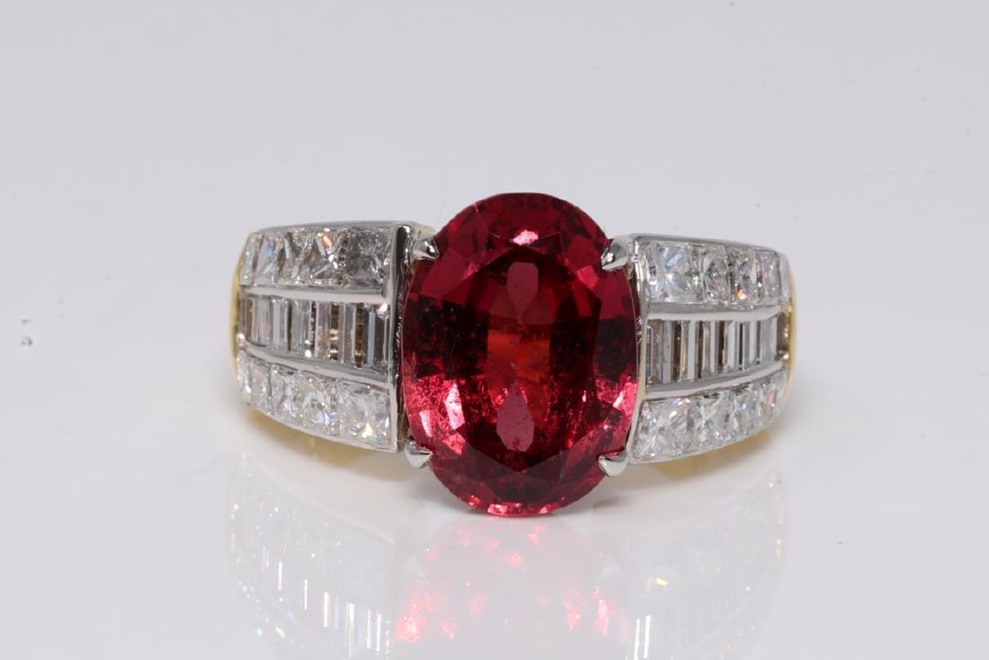 4.56ct GIA No Heat Ruby & 2.00ctw Diamond Ring