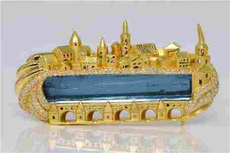 Henry Dunay 49ctw Aquamarine & Diamond Brooch
