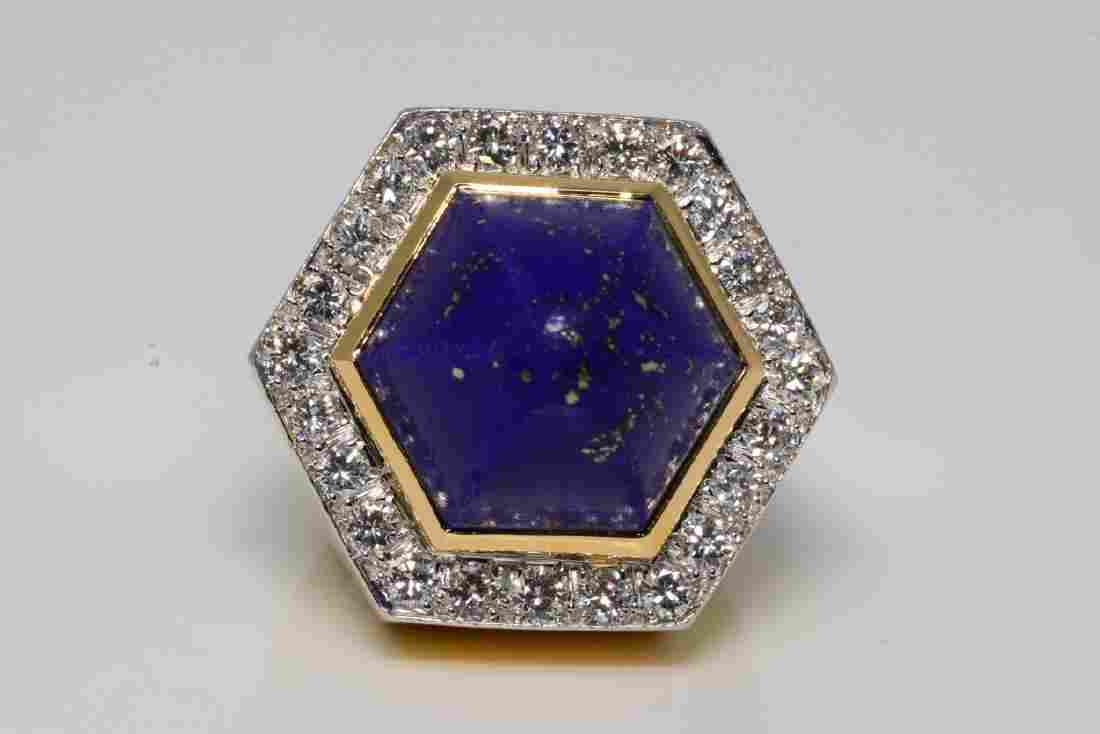 David Webb 2.50ctw Diamond, Lapis & 18K/Plat. Ring