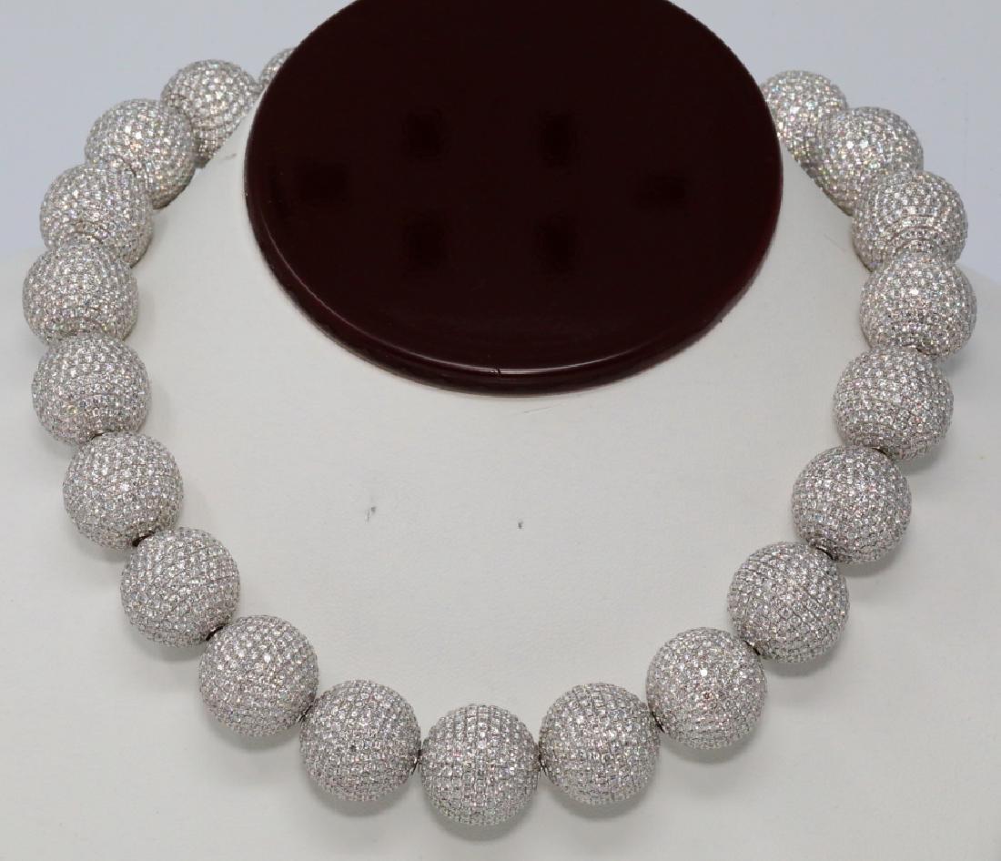 130ctw VVS2-VS1/F-G Pave Diamond & 18K Necklace