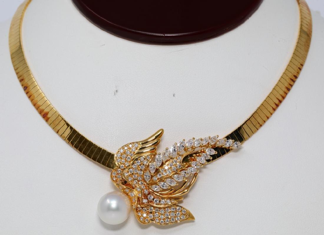 Chiampesan South Sea Pearl & 4ctw Diamond Necklace