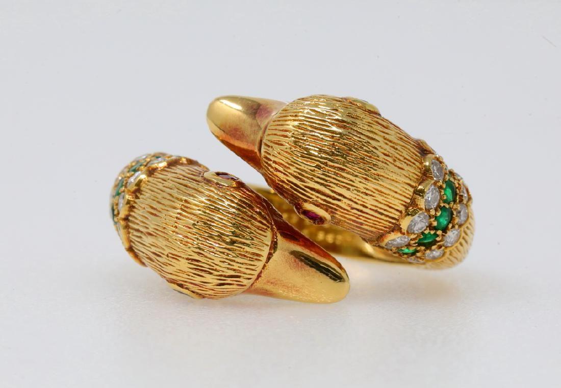 Van Cleef & Arpels Diamond, Emerald & Ruby Ring