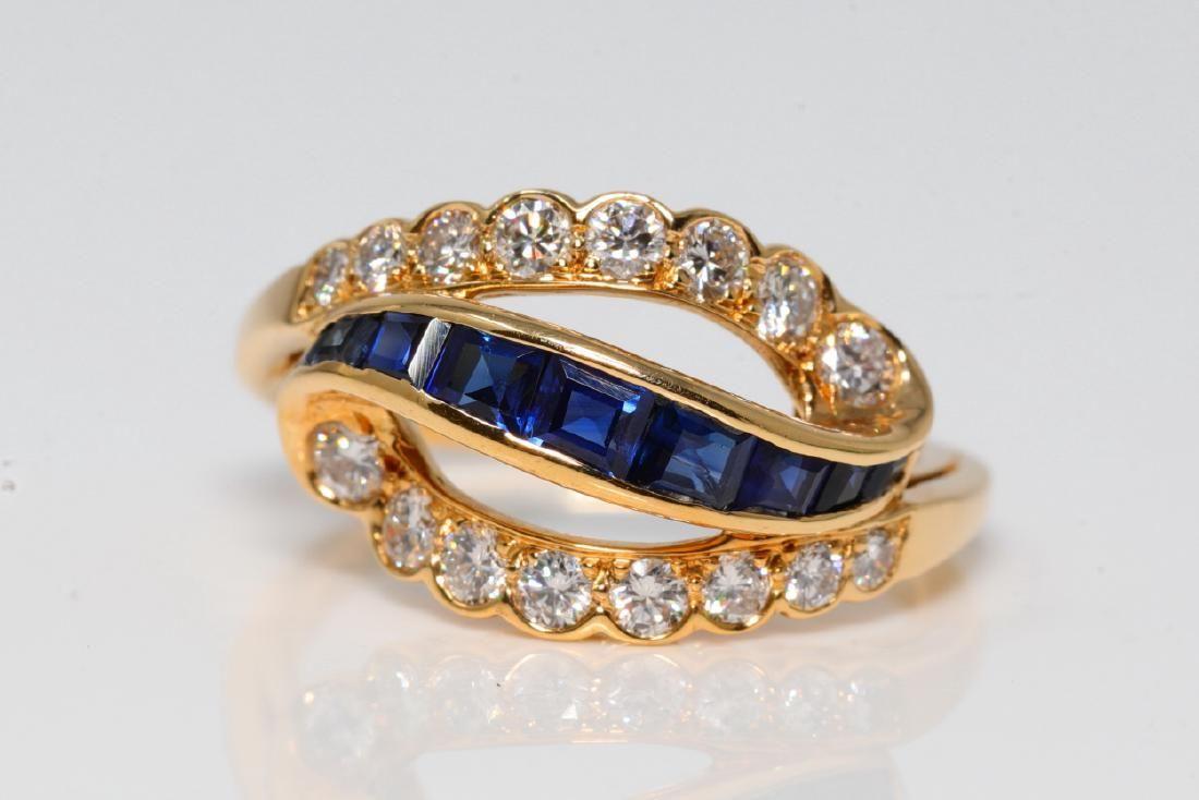 Oscar Heyman 1.40ctw Diamond & Blue Sapphire Ring