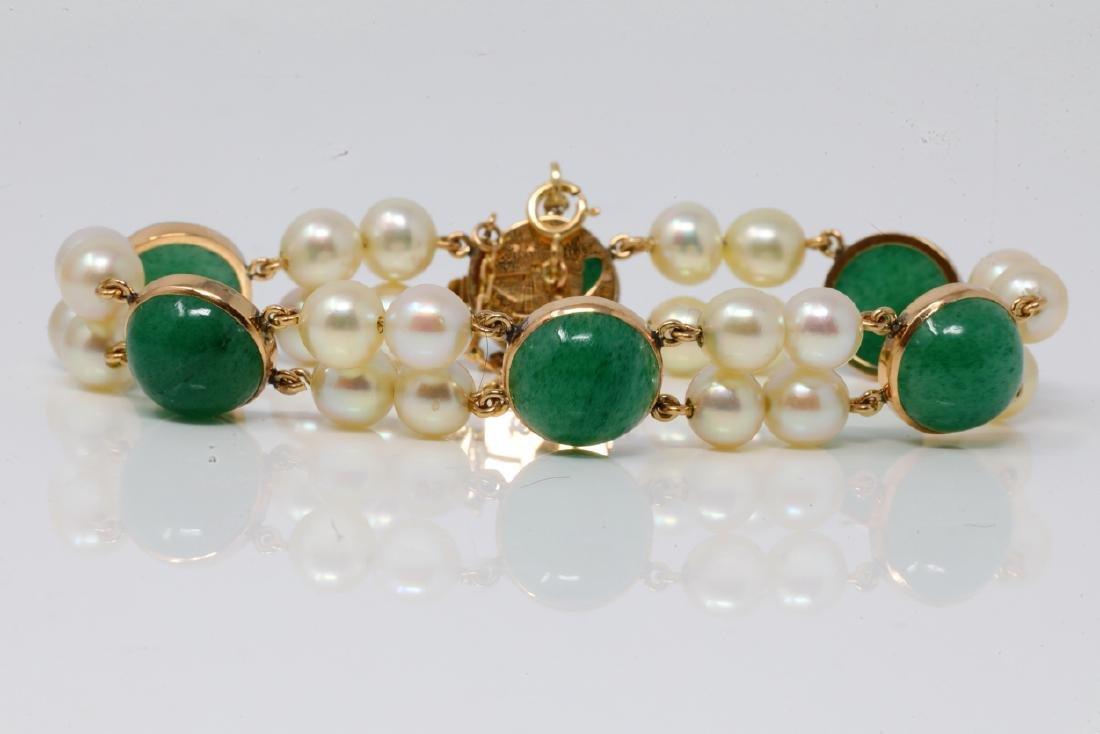 10mm Natural Jade, 6.3mm Pearl & 14K Bracelet