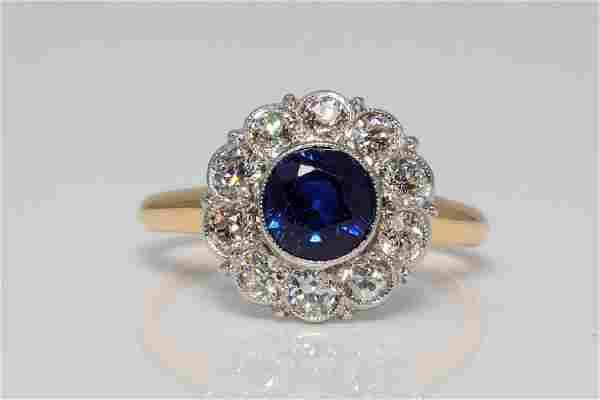 1.15ct Blue Sapphire, 0.90ctw Diamond & 14K Ring