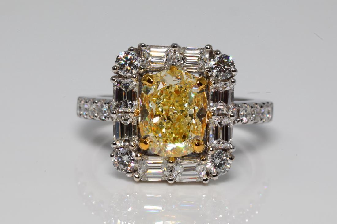 4.86ctw Fancy Light Yellow/White Diamond 18K Ring