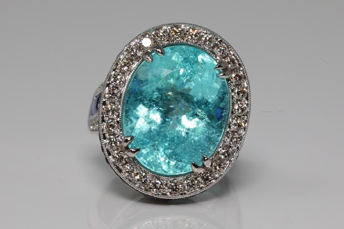 14.5ct Tourmaline, 3.5ctw Sapphire & Diamond Ring