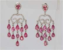 1330ctw Padparadscha Sapphire  Diamond Earrings