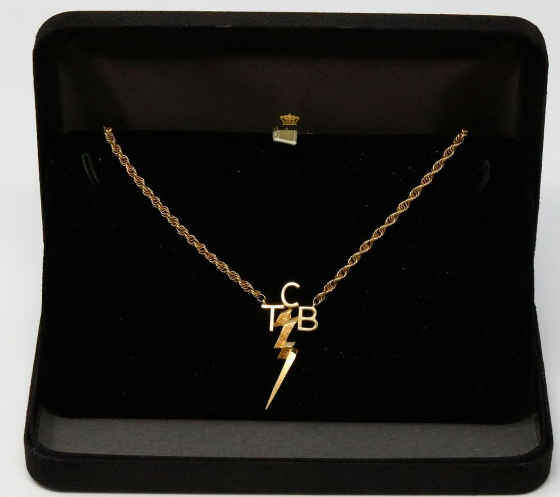 Elvis Presley Gifted 14K Yellow Gold TCB Necklace