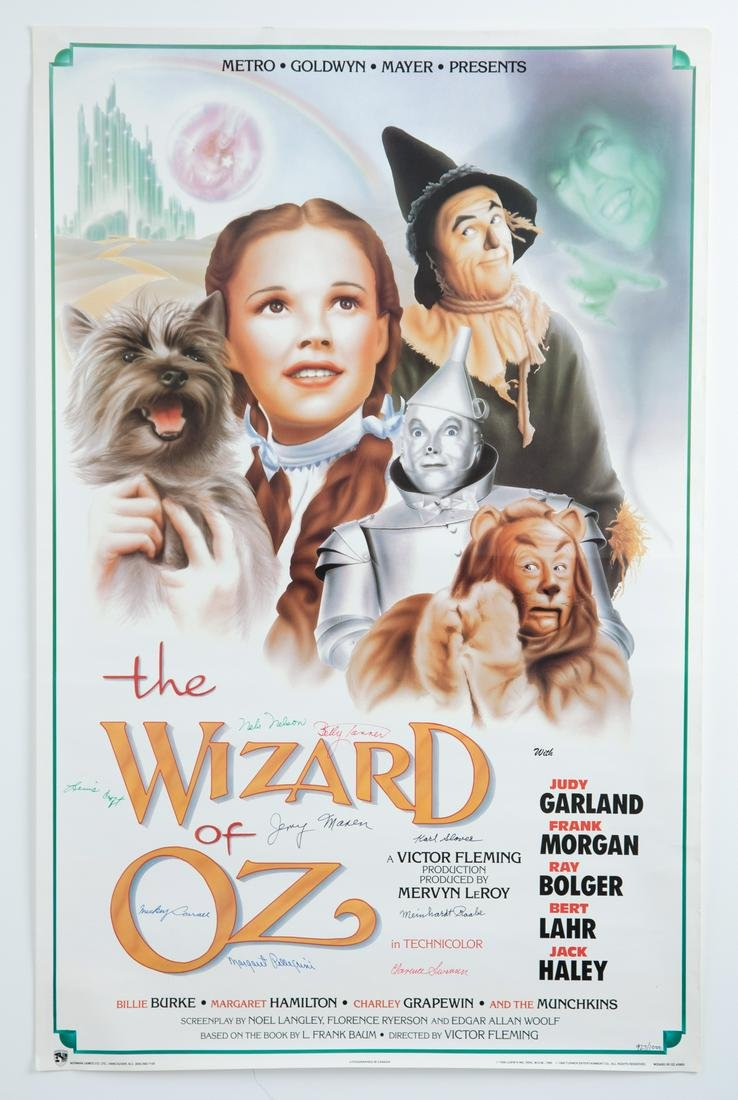 The Wizard of Oz Movie Poster Signed by Munchkins