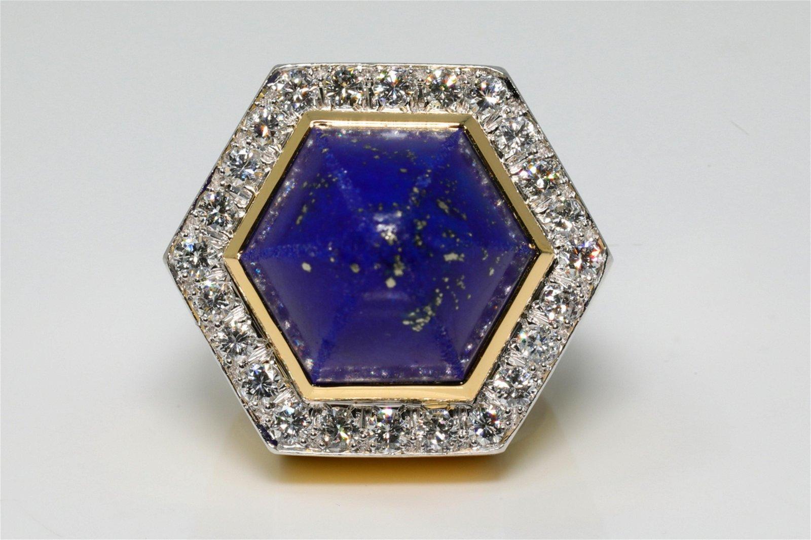David Webb 2 50ctw Diamond, Lapis & 18K/Plat  Ring