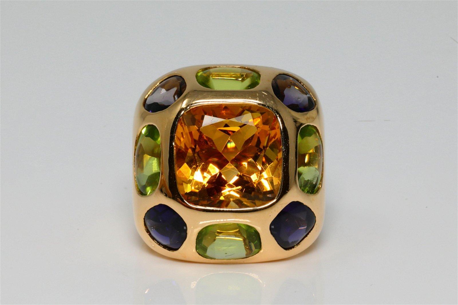 Chanel Baroque 15.50ctw Multi-Gemstone 18K Ring