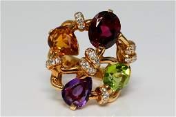 Chanel Baroque 6.75ctw Multi-Gemstone 18K Ring