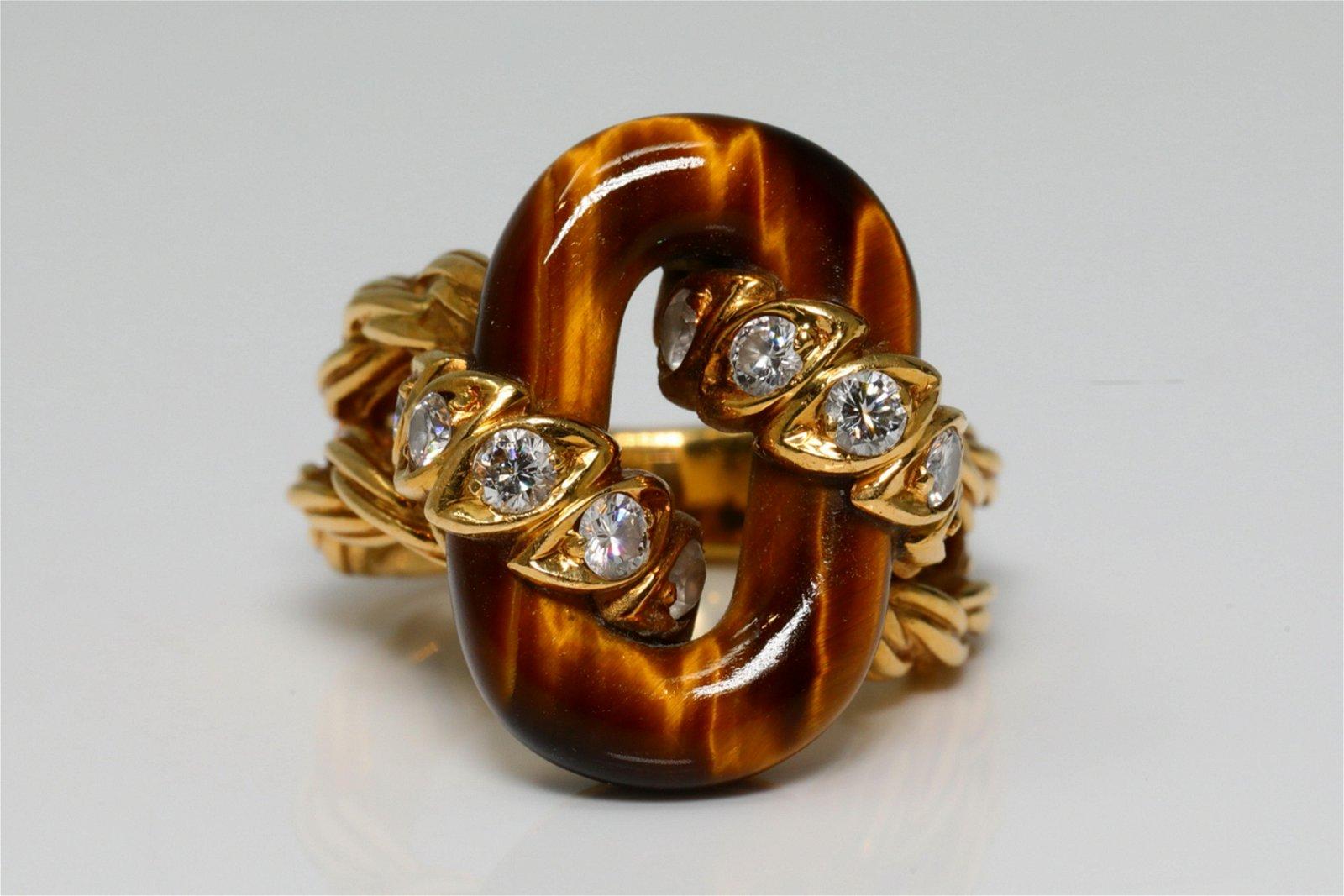 Van Cleef & Arpels Diamond, Tiger's Eye & 18K Ring