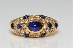Cartier 225ctw Blue Sapphire  Diamond 18K Ring