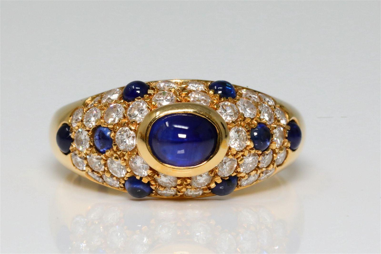 Cartier 2.25ctw Blue Sapphire & Diamond 18K Ring
