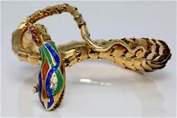 Vintage 14K One of a Kind Snake Bangle WEnamel
