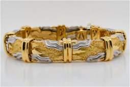 Henry Dunay 18K Yellow Gold  Platinum Bracelet