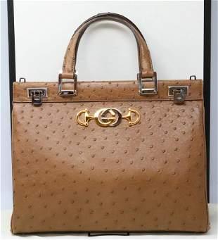Gucci Zumi Ostrich Medium Acero Brown Top Handle Bag