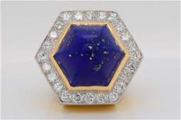 David Webb 250ctw Diamond Lapis  18KPlat Ring