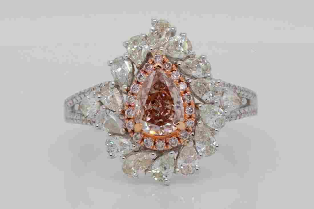 1.01ct GIA Fancy Brown-Pink Diamond & 1.50ctw Ring