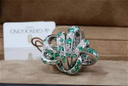 de Grisogono Catene 4.2ctw Diamond & Emerald Ring