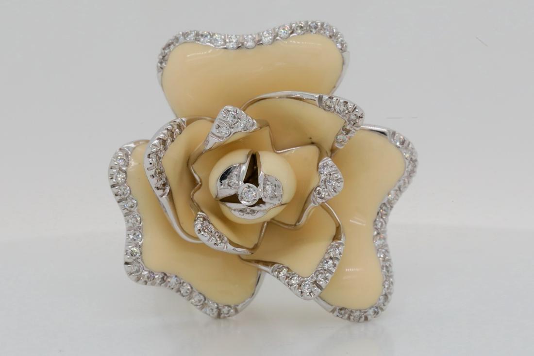 Roberto Coin Diamond 18K Flower Ring