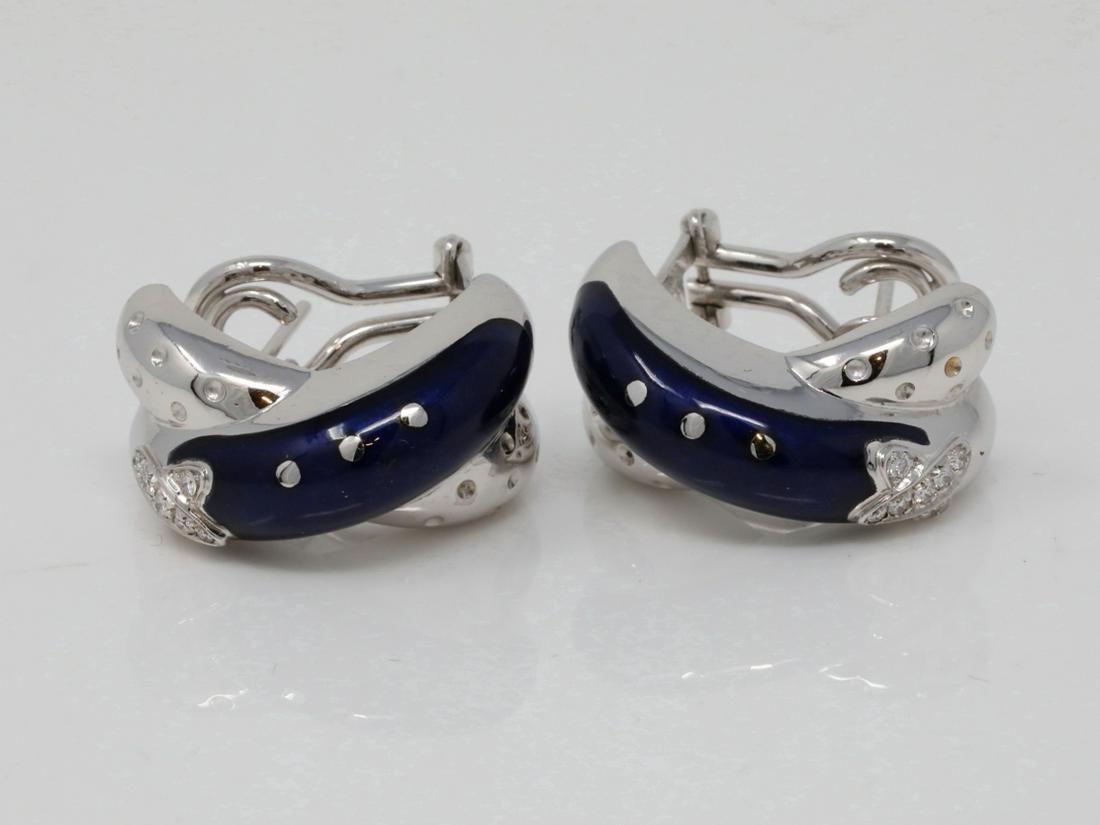 La Nouvelle Bague 18K & Enamel Earrings W/Diamonds