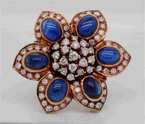 Sabbadini 10.25ctw Blue Sapphire & Diamond 18K Ring