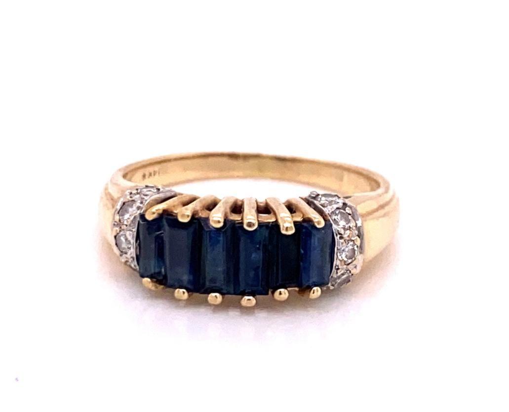 1.00ctw Blue Sapphire & 14K Ring W/Diamond Accents