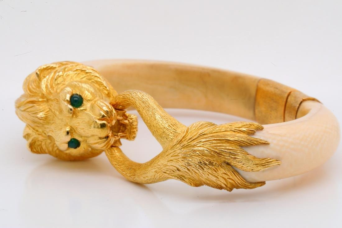 French 18K & Exotic Composition Bangle W/Emeralds