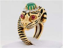 David Webb 200ct Emerald Diamond 18K Tiger Ring
