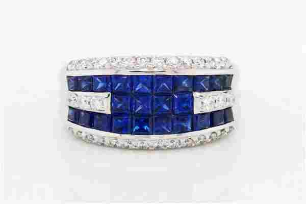 2.50ctw Blue Sapphire, 0.50ctw Diamond 18K Ring