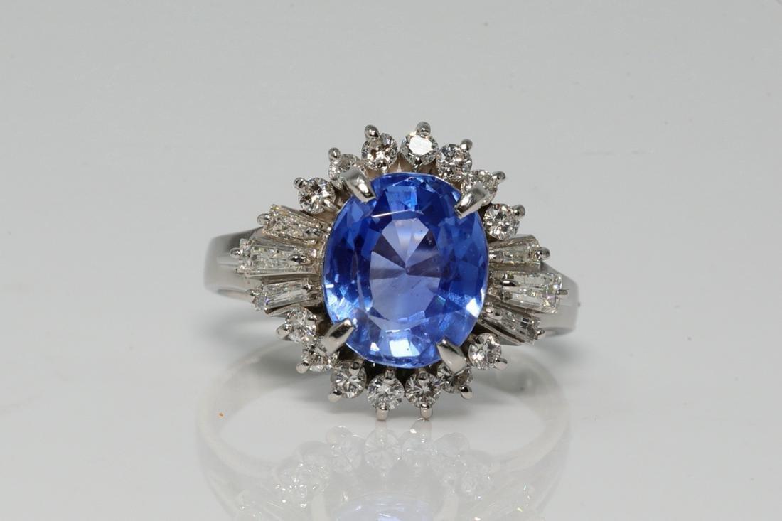 4.05ct Blue Sapphire, Diamond & Platinum Ring