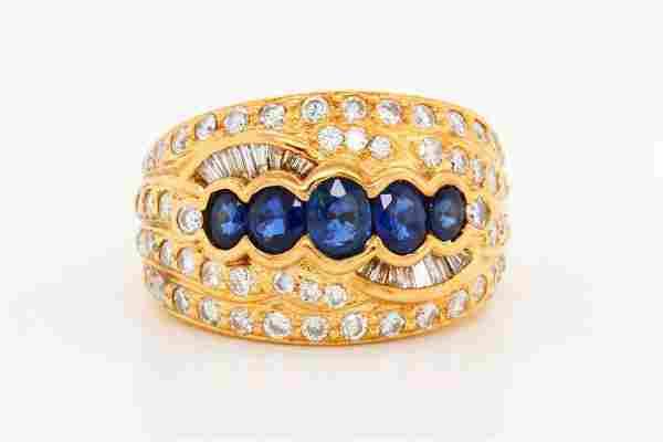 1.50ctw Blue Sapphire, 1.30ctw Diamond 18K Ring