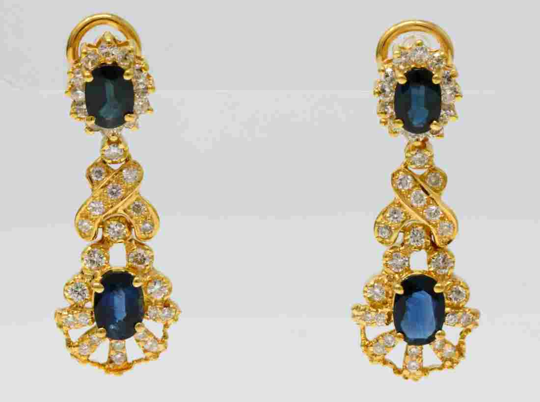 3ctw Blue Sapphire, 1.50ctw Diamond 18K Earrings