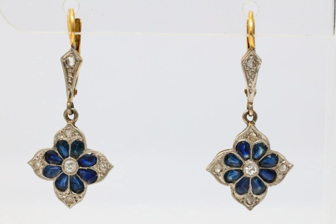 1.60ctw Blue Sapphire & 18K Earrings W/Diamonds
