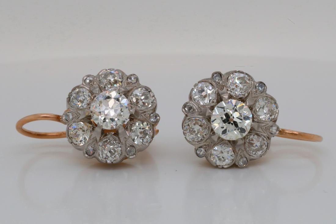4.00ctw Old European Cut Diamond & 18K Earrings
