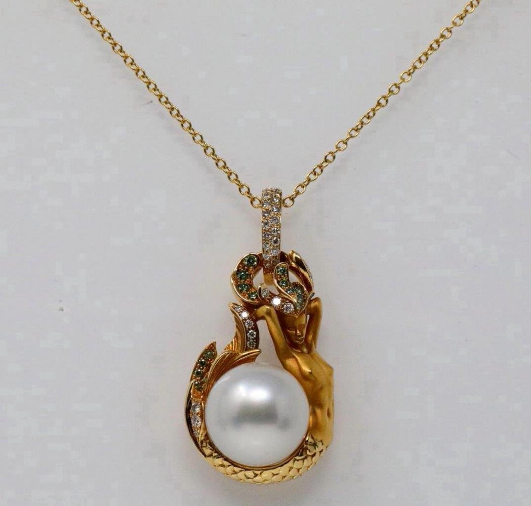 Magerit 14mm South Sea Pearl, Diamond 18K Necklace