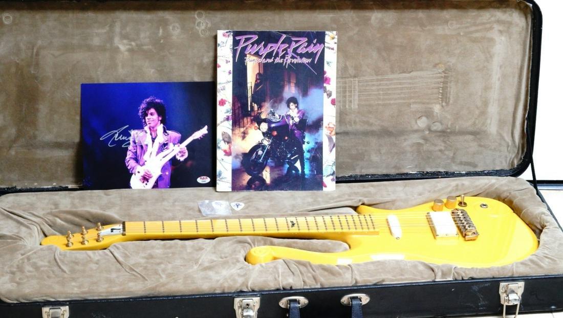 Prince Signed Photo W/Cloud Guitar Replica