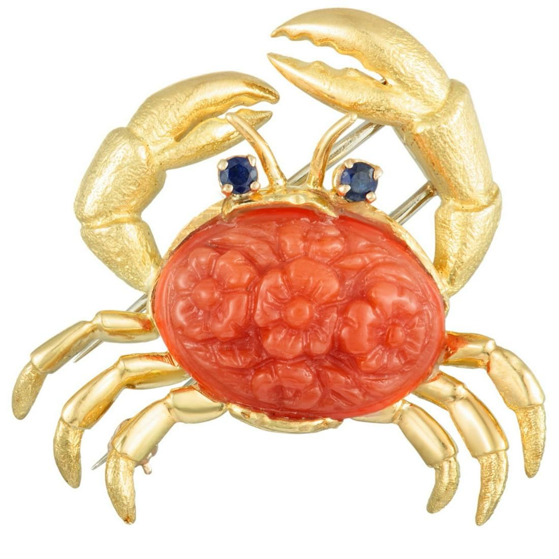 Tiffany & Co. 18K & Carved Coral Crab Brooch
