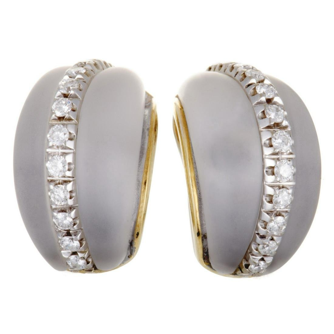 Fred Paris 1.00ctw Diamond, Crystal & 18K Ear Clips