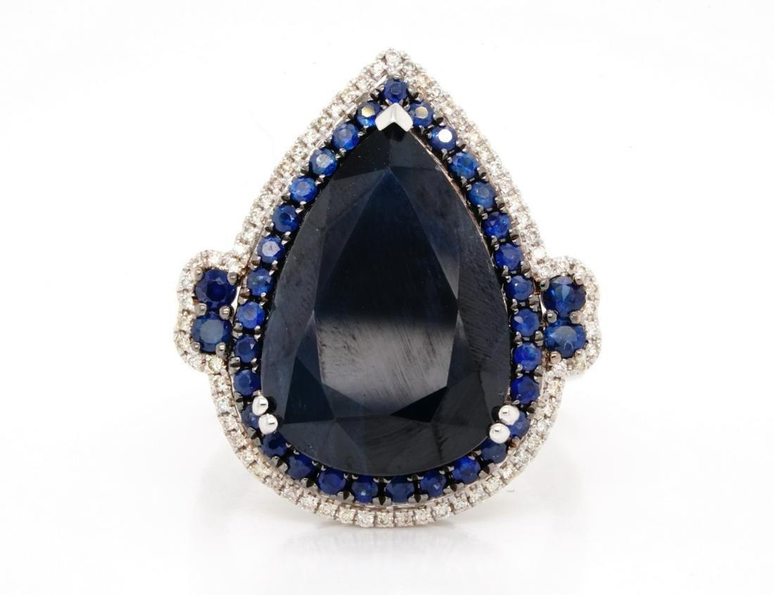 14.00ctw Blue Sapphire & 14K Ring W/Diamond Accents