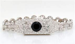 3ct Blue Sapphire, 2.50ctw Diamond Platinum Bracelet