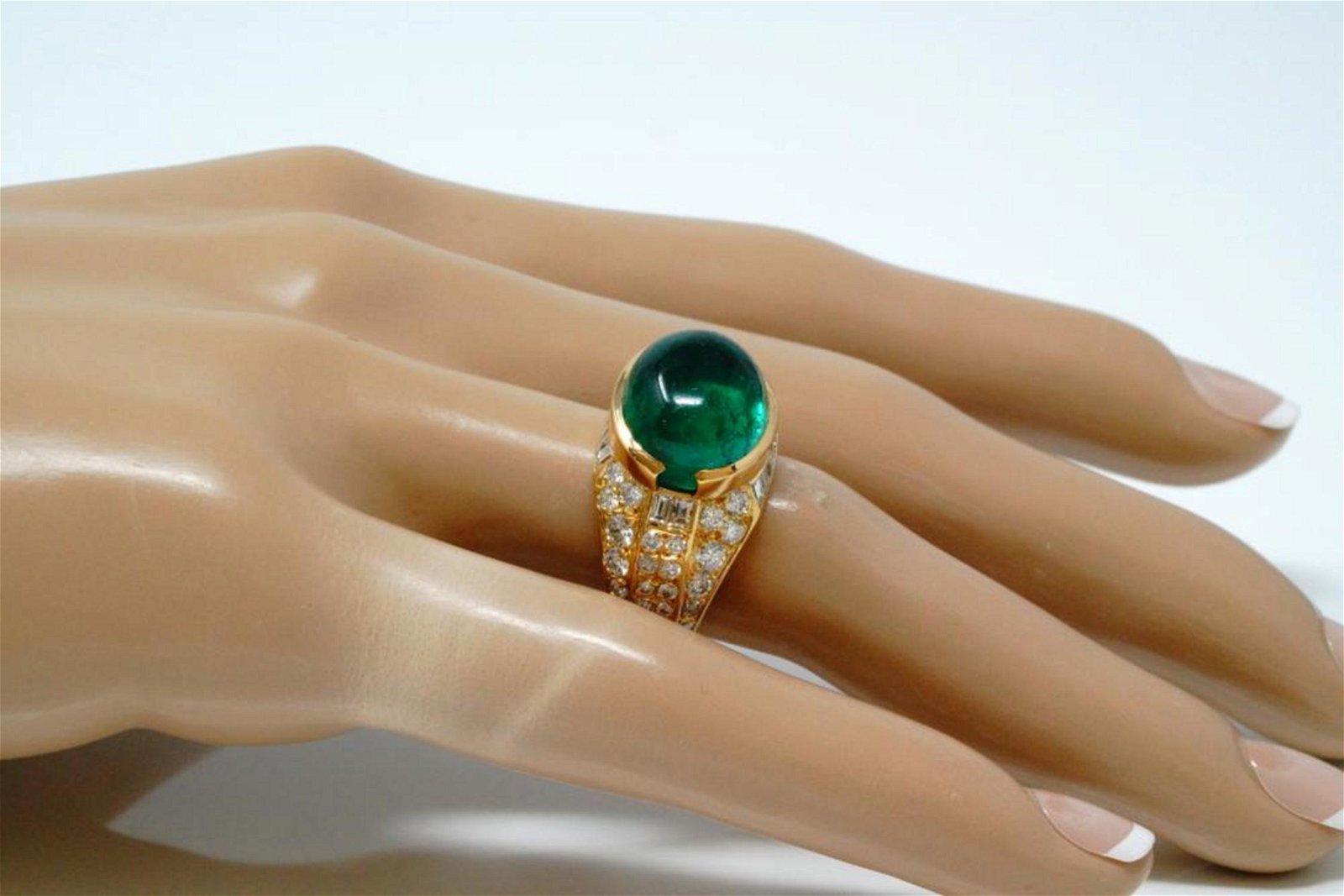 8.40ct Emerald, 2.00ctw Diamond 18K French Ring