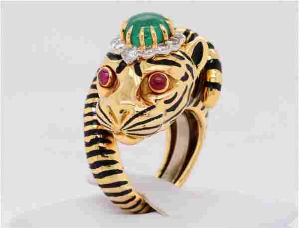 David Webb 2.00ct Emerald, Diamond 18K Tiger Ring