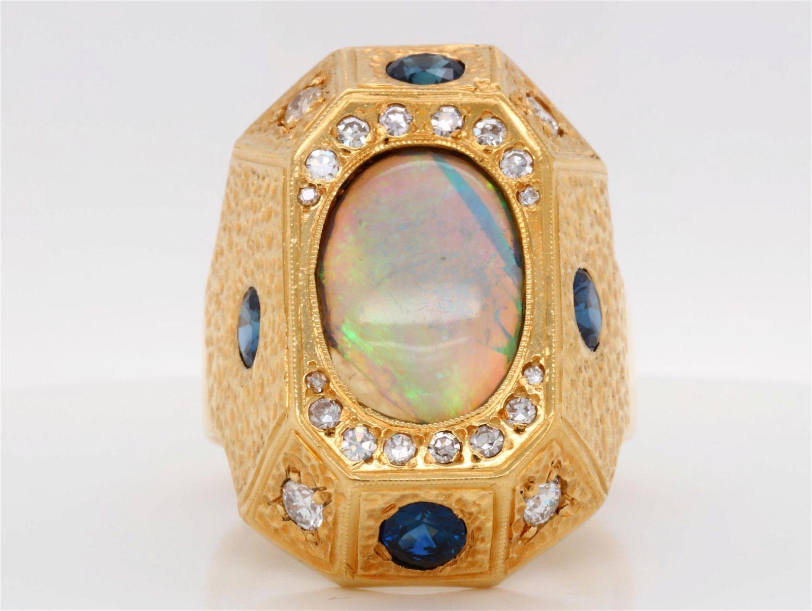 13mm Opal, 1.50ctw Blue Sapphire & Diamond Ring