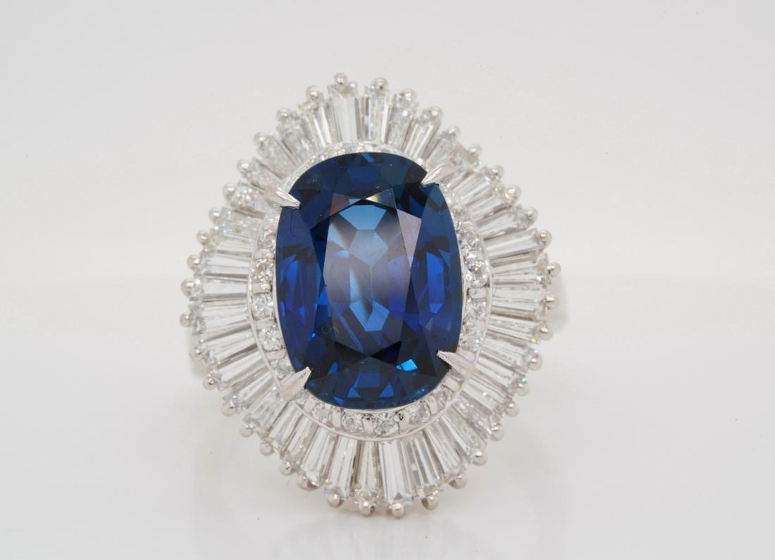 7.30ct Blue Sapphire, 2.35ctw Diamond Platinum Ring