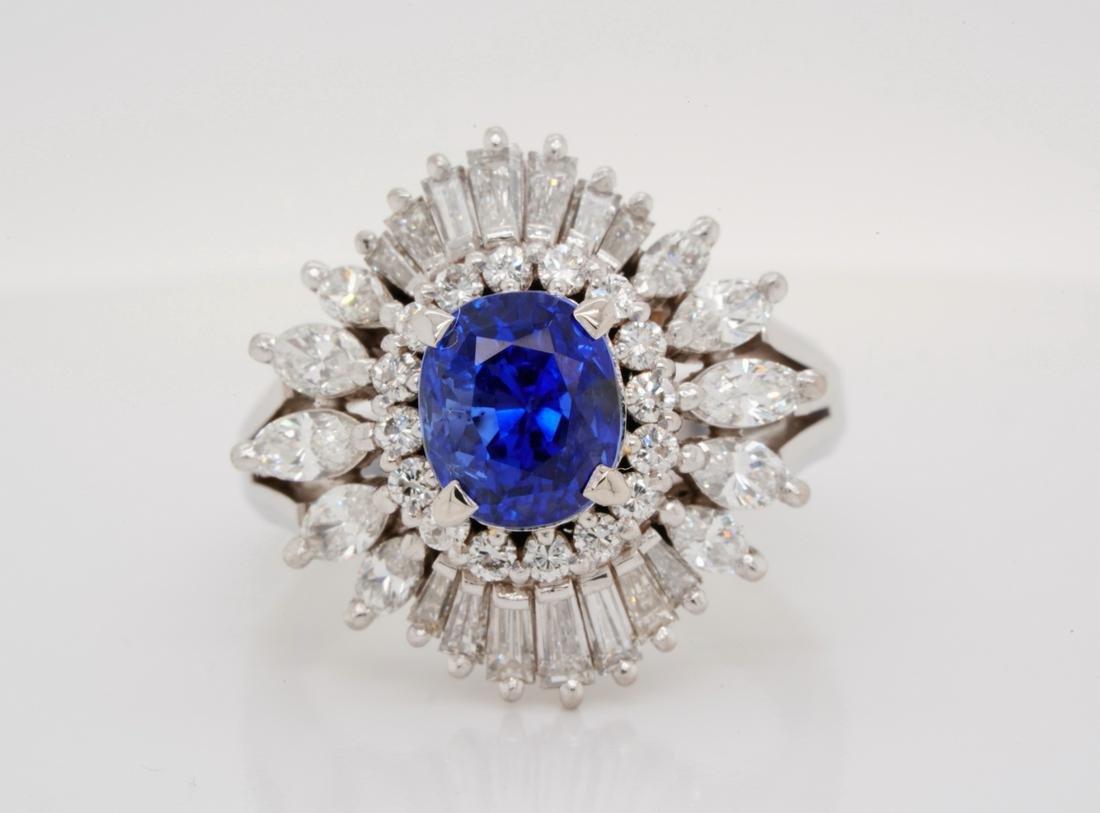 3.02ct GIA No Heat Blue Sapphire & 1.65ctw Diamond Ring